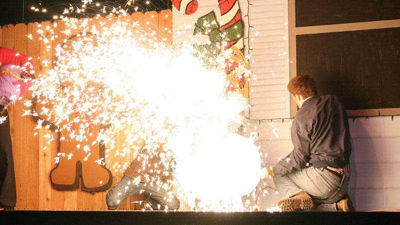 Pyrotechnics in a production of Fruitcakes