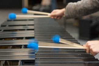 Percussionist playing xylophone
