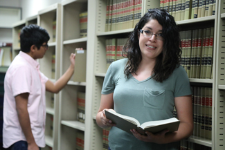 Paralegal student in library